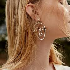 human earrings abstract human earrings women gold color metal hollow
