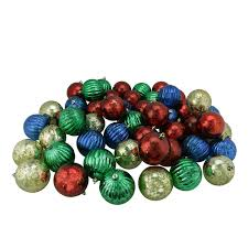 50ct shiny red blue green and gold shatterproof mercury ball