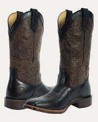 womens boots toe s all around square toe floral embossed black brown