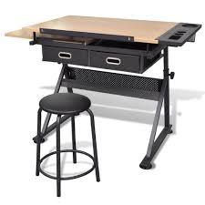 bureau dessinateur table à dessin inclinable avec tabouret plateau inclinable 2