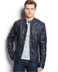 mens moto jacket michael kors michael conway faux leather moto jacket in blue for