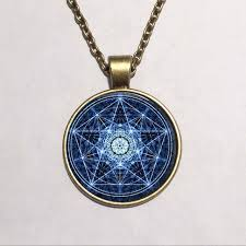 glass necklace pendants images Free shipping round glass necklace blue wiccan glass pendant jpg