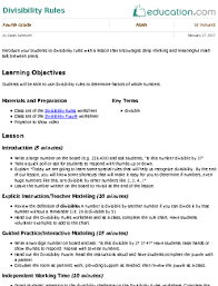 divisibility rules lesson plan education com