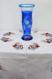 Cobalt Blue Crystal Vase Large Hand Embroidered Tablecloth Original Kalocsa Needlework