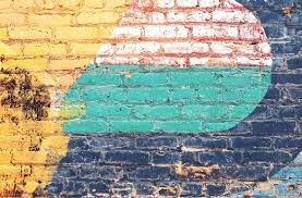 free picture yellow green blue brick wall grunge texture