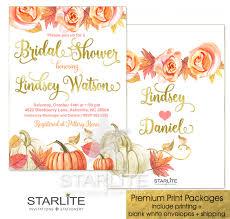 fall bridal shower invitation pumpkin leaves starlite printables