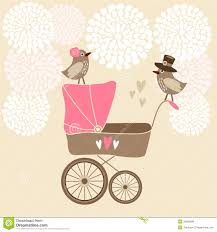 cute baby shower card with baby carriage stock vector image
