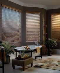 decorating gray wall with glass window with faux wood blinds plus