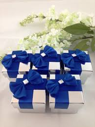 Blue Favors by 25 Royal Blue Silver Favor Box Wedding By Alymishelledesigns