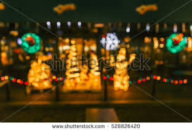 outdoor christmas decorations at christmas town usa stock images