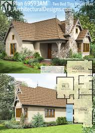 plan 69593am 2 bed tiny cottage house plan open living area