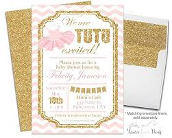 tutu baby shower invitations with pink and gold