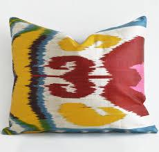 colorful ikat pillow hand woven silk ikat pillow cover ikat