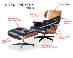 century plywood eames style lounge chair and ottoman 100 aniline leather black