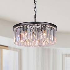 justina 5 light antique bronze chandelier with crystal glass
