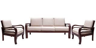 Buy Hughes Teak Wood Sofa Set    Seater In Fresh Walnut - Teak wood sofa sets