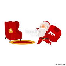 Cartoon Armchair Funny Santa Claus Carrying Christmas Presents And Cozy Armchair