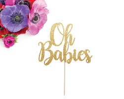 oh babies cake topper twin baby shower twin cake topper