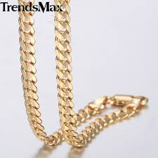 gold filled necklace images Buy trendsmax men 39 s cuban link chain necklace jpg