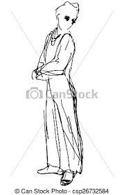 vector of vector sketch of a man looking back over his shoulder