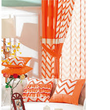 Orange White Curtains Brief Ready Made Orange And White Striped Chevron Curtains