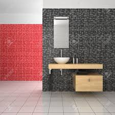 modern bathroom with black red and white tiles stock photo