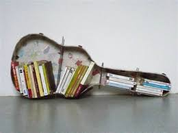 Creative Bookshelf Designs Decorations Unique Bookshelf Design Idea With Guitar Case Shape
