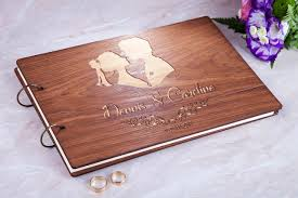 engraved wedding album wedding guest book personalized wedding guestbook rustic guest