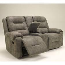 Ashley Furniture Microfiber Loveseat Ashley Furniture Rotation Double Reclining Loveseat In Smoke