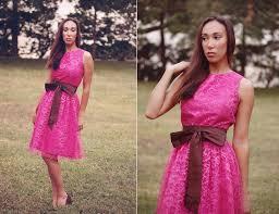 pink lace bridesmaid dress with maroon sash