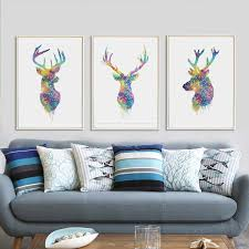aliexpress com buy nordic watercolor deer head animal a4 canvas