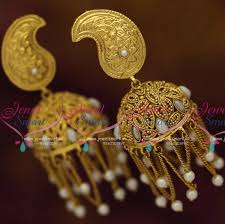 jhumka earrings with chain j7880 size antique colour rajwadi jhumka earrings pearl chain