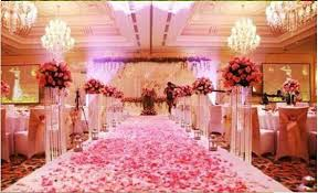 light pink aisle runner silk rose petal wedding table bed aisle decoration malay wedding