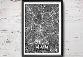 Atlanta Georgia Map Atlanta Georgia Map With Coordinates Atlanta Map Map Art