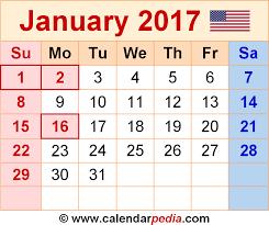 2017 us calendar printable january 2017 calendars for word excel pdf