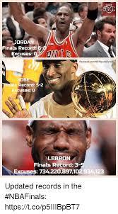 Kobe Lebron Jordan Meme - jordan finals record excuses o facebookcomnotsportscenter kobe als