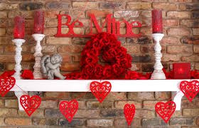 Heart Decorations Home Charming Fireplace Valentine Deco Feat Harmonious Valentine Red