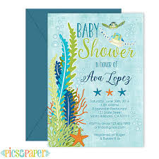 theme baby shower invitation sea turtle blue by picsandpaper