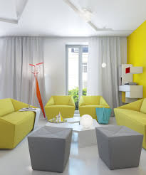 charming pale yellow sofa and white high ceiling curtain for
