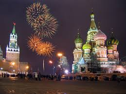 new year st kremlin clock tower and st basil s cathedral square