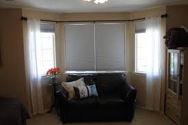 bay window rods curtain bay window with wood drapery rods use