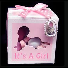 it s a girl ribbon baby shower party favors pink its a girl favor charm ribbon box set