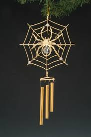 spider web gold swarovski wind chime ornament
