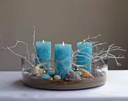 Beach Theme Centerpiece Ideas by Beach Centerpiece Using Blue Pillar Candles Great Affordable Idea