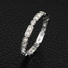 stackable wedding band 14k white gold moissanite eternity ring art