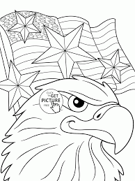 eagle and independence day of america coloring page for kids