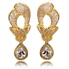 gold earrings for marriage dubai jewellery large dangle earrings with big tear drop pendant