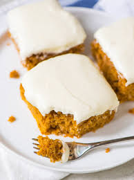 pumpkin sheet cake with fluffy cheese frosting