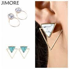 jim earrings jimore 2017 gold triangle square geometric earring women