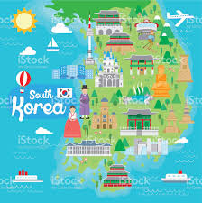 Korea Map Asia by South Korea Travel Map Stock Vector Art 499333550 Istock